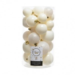 Lot de 30 boules de Noël assorties Alpine Blanc laine