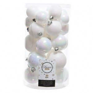 Lot de 30 boules de Noël assorties Alpine Blanc irisé