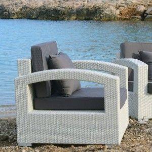 Salon de jardin Panama Blanc - 5 places - Salon de jardin détente ...