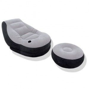 Sillón hinchable y puf Gris - Intex