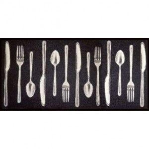 Tapis de cuisine XXL (115 cm) Couverts