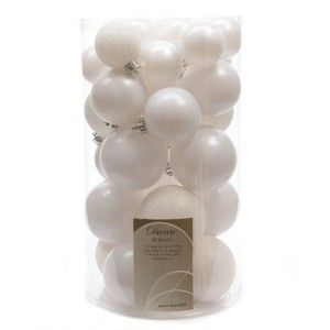Lot de 30 boules de Noël assorties Alpine Blanc