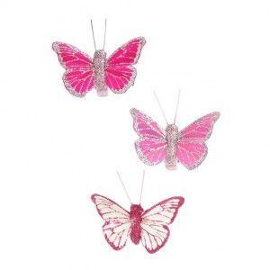 Lot de 3 Papillons Bahamas Rose