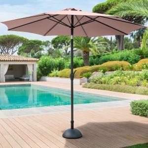 Parasol inclinable rond Fidji (D 3 m) - Taupe