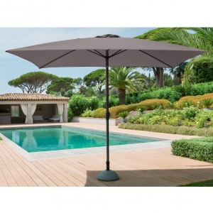 Parasol inclinable rectangulaire Fidji (L 3 x l 2 m) - Gris cendré
