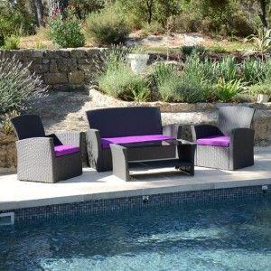salon de jardin ibiza anthracite et violet 4 places salon de jardin d tente eminza. Black Bedroom Furniture Sets. Home Design Ideas