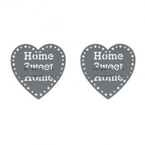 Set di due mollette fermatenda Sweet home Grigio