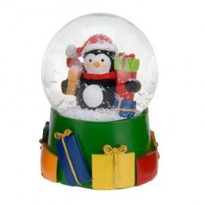 Boule � neige Pingouin et ses cadeaux