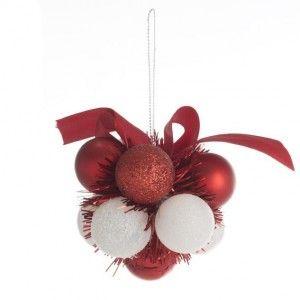 Suspension Fleur de boule de No�l Rouge et blanc