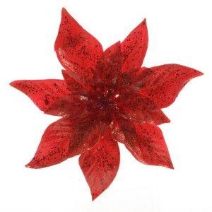 Fleur de Noël sur clip Poinsettia Rouge