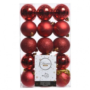 Lot de 30 boules de Noël (D60 mm) Alpine Rouge