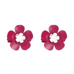 Lot de 2 pinces Margaux Fuchsia - Blanc
