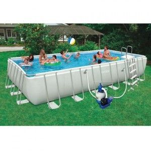 Piscine tubulaire rectangulaire Ultra Silver L7,32 x l3,66 x H1,32 m - Intex