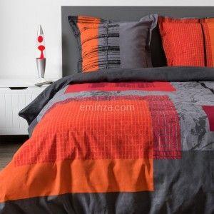 Linge de lit housse de couette parure de lit drap eminza - Housse de couette grise et rouge ...