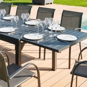 b21880109f004 Table de jardin extensible Aluminium Piazza (270 x 90 cm) - Graphite