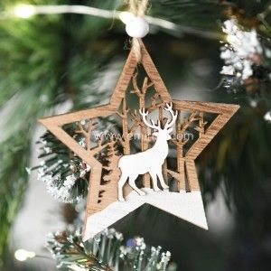 Lot de 2 étoiles de Noël décor forestier Naturel