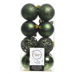 Lot de 16 boules de Noël (D60 mm) Alpine multi Vert sapin