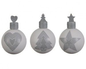 Lot de 3 boules de Noël (D80 mm) Traditionelle Gris