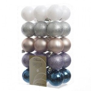 Lot de 30 boules de Noël (D60 mm) Alpine mix Bleu nuit / Lilas