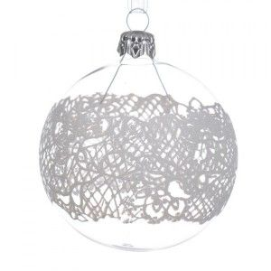 Lot de 6 boules de Noël (D80 mm) Dentelle Transparent