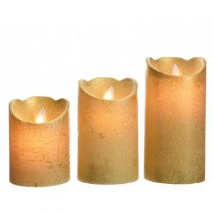 Lot de 3 bougies votives LED Luzi Or