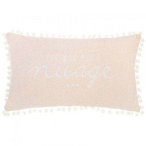 Coussin rectangulaire Pompon Rose