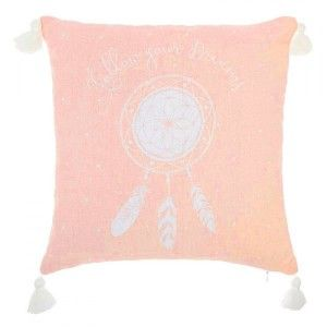 Coussin (40 cm) 4 Pompons Rose