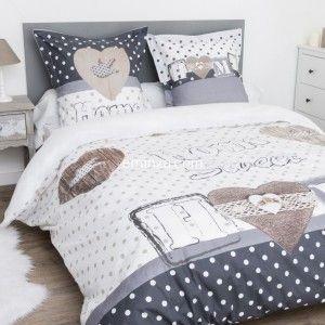 housse de couette et deux taies 240 cm frou frou anthracite housse de couette eminza. Black Bedroom Furniture Sets. Home Design Ideas
