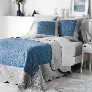 couvre lit 220 x 240 cm erika bleu indigo couvre lit boutis eminza. Black Bedroom Furniture Sets. Home Design Ideas