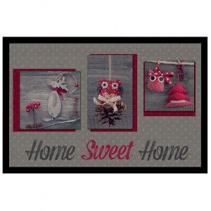 Deurmat (60 cm) photoprint Sweet Winter Sweet Rood
