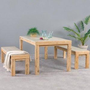 Salon de jardin + Bois - Salon de jardin, table et chaise - Eminza