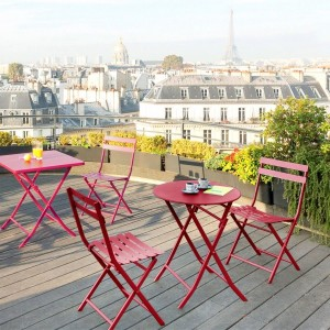 Table de jardin ronde pliante Métal Greensboro (D60 cm) - Rouge