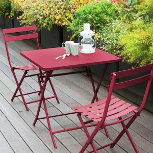 Table de jardin pliante carrée Métal Greensboro (70 x 70 cm) - Rouge