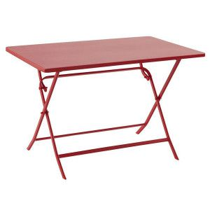 Table de jardin rectangulaire pliante Métal Greensboro (110 x 70 cm) - Rouge