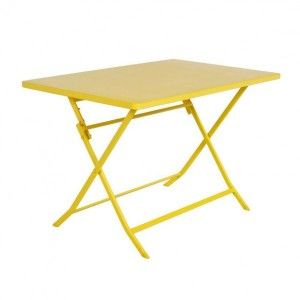 Table de jardin rectangulaire pliante Métal Greensboro (110 x 70 cm) - Jaune