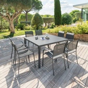 Table de jardin Aluminium Piazza (136 x 136 cm) - Gris anthracite