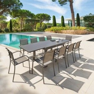 Table de Jardin extensible Piazza Aluminium (270 x 90 cm) - Moka