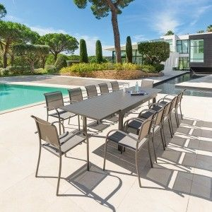 Table de Jardin extensible Piazza Aluminium (320 x 100 cm)- Moka