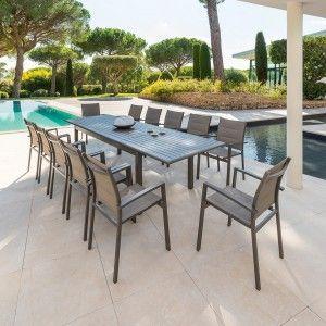 Table de jardin extensible Aluminium Azua (300 x 100 cm) - Marron