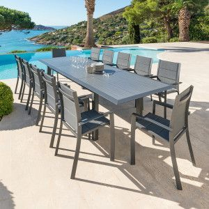 Table de jardin extensible HPL Allure (316 x 115 cm) - Graphite