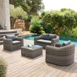 Salon de jardin Moorea Gris terre d\'ombre - 5 places - Salon de ...