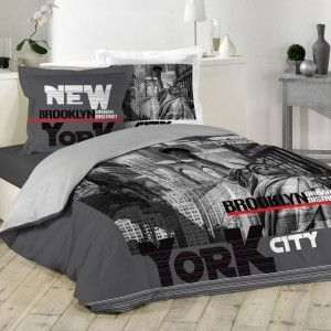 Housse de couette et deux taies NY District coton (240 cm) Gris anthracite