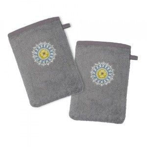 Lot de 2 gants de toilette Amarilla Gris