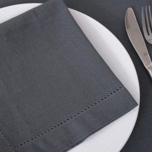 Lot de 4 serviettes Chambray Gris foncé