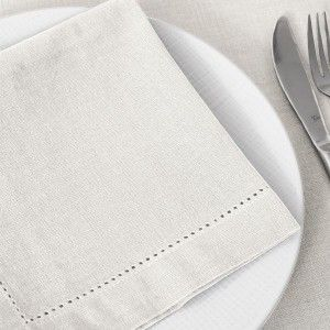 Lot de 4 serviettes Chambray Blanc