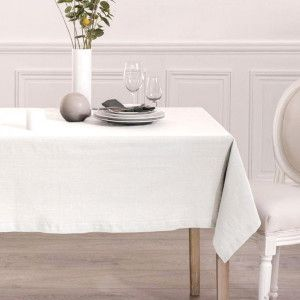 Nappe rectangulaire (L240 cm) Chambray Blanche