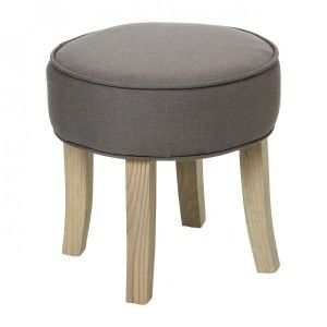 Hocker in Leinenoptik Adriel Taupe