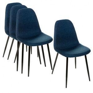 Lot de 4 chaises Tyka Bleu Navy