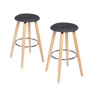 Lot de 2 tabourets de bar Naor Gris