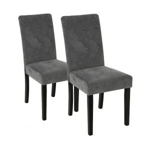 Lot de 2 chaises Velours Cleva Gris